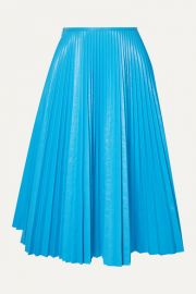 C  dric Charlier - Pleated faux leather skirt at Net A Porter