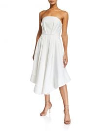 C MEO Vibrant Strapless Pleated Dress at Neiman Marcus