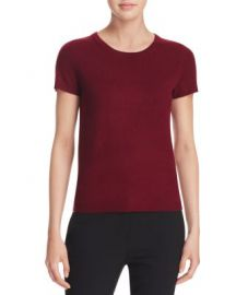 C by Bloomingdale  039 s Short-Sleeve Cashmere Sweater in Cabernet at Bloomingdales