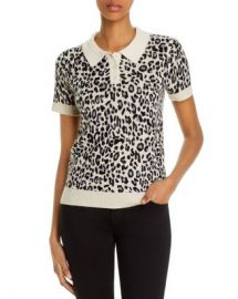 C by Bloomingdale  x27 s Cashmere Leopard-Print Polo Sweater - 100  Exclusive Women - Bloomingdale s at Bloomingdales
