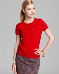 C by Bloomingdaleand039s Cashmere Short Sleeve Shell in red at Bloomingdales