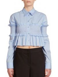 C dric Charlier - Smocked Cropped Top at Saks Fifth Avenue
