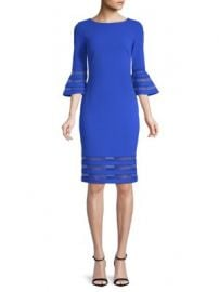 CALVIN KLEIN - BELL-SLEEVE STRIPED MESH DRESS at Saks Off 5th