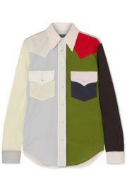 CALVIN KLEIN 205W39NYC   Color-block cotton-poplin shirt at Net A Porter