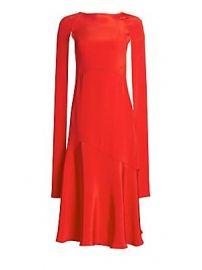 CALVIN KLEIN 205W39NYC - Silk Cape-Sleeve Midi Dress at Saks Fifth Avenue