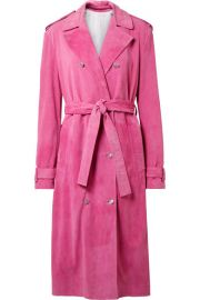 CALVIN KLEIN 205W39NYC   Suede trench coat at Net A Porter