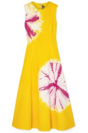 CALVIN KLEIN 205W39NYC - Tie-dyed denim midi dress at Net A Porter