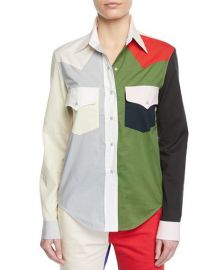 CALVIN KLEIN 205W39NYC Colorblock Button-Down Long-Sleeve at Neiman Marcus