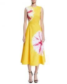 CALVIN KLEIN 205W39NYC Sand Dollar Print Cotton Midi Dress at Neiman Marcus