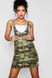 CAMO O-RING ZIP THROUGH DENIM PINAFORE DRESS at Boohoo