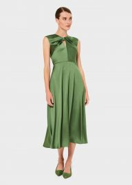 CASSANDRA TWIST NECK SATIN DRESS at Hobbs