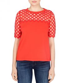 CATHERINE Catherine Malandrino Bilal Lattice Top red at Bloomingdales