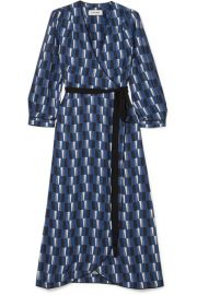 CEFINN - PRINTED SATIN WRAP MIDI DRESS - BLUE at Net A Porter