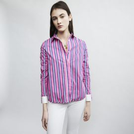 CENALI Striped cotton shirt with snaps at Maje