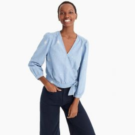 CHAMBRAY WRAP TOP IN STAR PRINT at J.Crew