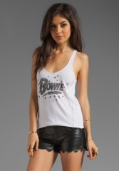 CHASER Bowie Stars David Bowie Racer Tank in Light Grey at Revolve