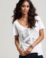 CHASER Tee - Double Peace Sign Destroyed V Neck at Bloomingdales