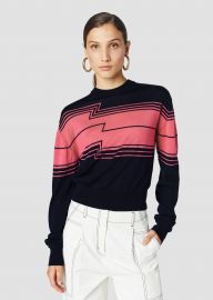 CHEVRON STRIPE SILK WOOL SWEATER at Derek Lam