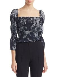 CINQ a SEPT - ADELAIDE SILK SMOCKED TOP at Saks Fifth Avenue