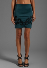 CLOVER CANYON Embroidery Neoprene Skirt in ArmyBlack - Sale at Revolve