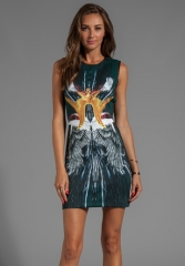CLOVER CANYON Wings Neoprene Dress in Green at Revolve
