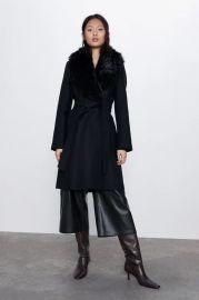 COAT WITH FAUX FUR COLLAR at Zara