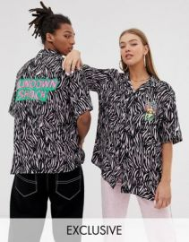 COLLUSION Unisex revere shirt with tiger print   ASOS at Asos