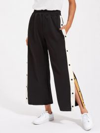 CONTRAST SNAP BUTTON SIDE CULOTTE PANTS at Shein