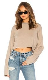 COTTON CITIZEN The Tokyo Crop Long Sleeve Tee in Cappuccino from Revolve com at Revolve