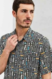 CPO Geo Print Short-Sleeve Button-Down Shirt at Urban Outfitters