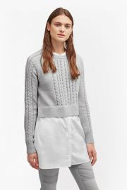 CROCHET CABLE KNIT JUMPER SHIRT at French Connection