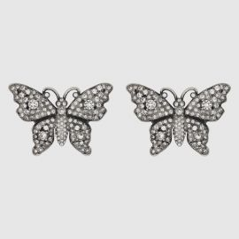 CRYSTAL STUDDED BUTTERFLY EARRINGS at Gucci