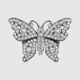 CRYSTAL STUDDED BUTTERFLY RING IN METAL at Gucci
