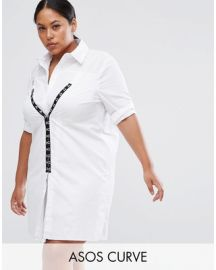 CURVE Cotton Shirt Dress with Hardware Detail by ASOS at ASOS