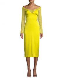 CUSHNIE Lace-Sleeve Satin Slip Dress at Neiman Marcus