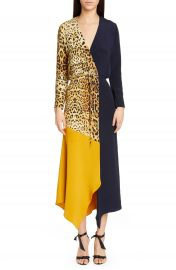 CUSHNIE Leopard Colorblock Long Sleeve Silk Dress   Nordstrom at Nordstrom
