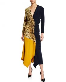 CUSHNIE Leopard Print  amp  Colorblocked Wrap Dress at Neiman Marcus