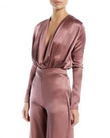 CUSHNIE Long-Sleeve Deep-V Blouson-Style Bodysuit at Bergdorf Goodman