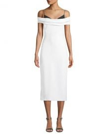 CUSHNIE Two-Tone Off-the-Shoulder Stretch-Cady Pencil Dress at Neiman Marcus