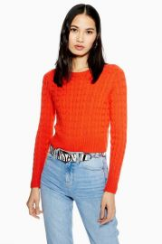 Cable Crop Jumper with Cashmere at Topshop