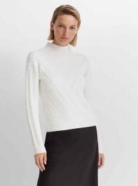 Cable Front Mock Neck Sweater at Club Monaco