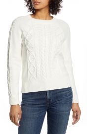 Cable Knit Crew Neck Sweater at Nordstrom Rack