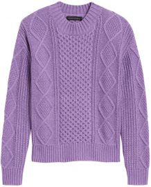 Cable-Knit Cropped Sweater at Banana Republic