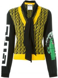 Cable Knit Effect Cardigan by Moschino at Farfetch