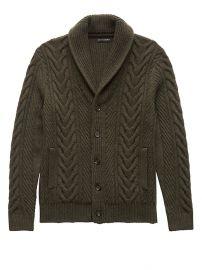 Cable-Knit Shawl-Collar Cardigan Sweater at Banana Republic