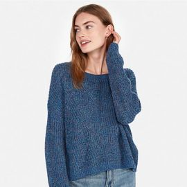 Cable Knit Split Back Pullover Sweater at Express