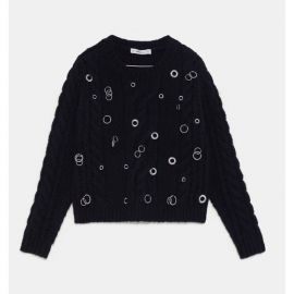 Cable Knit Sweater with Eyelets by Zara at Zara