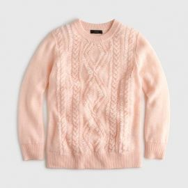 Cable crewneck sweater with fringe at J. Crew