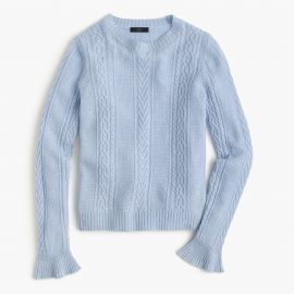 Cable crewneck sweater with ruffle sleeves at J. Crew