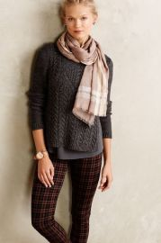 Cabled Ella Pullover in grey at Anthropologie
